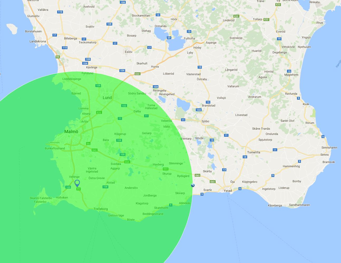 Kartan visar vilket område som omfattas av fri utkörning vid köp för 800kr eller mer.